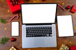 Leinwandbild Motiv Composition of smartphone, laptop, tablet with copy space and decorations on wooden background