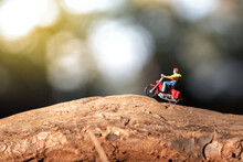 Riding Motorcycle In Rural Area. Wanderlust Lifestyle Concept