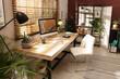 Leinwandbild Motiv Light room interior with comfortable workplace near window