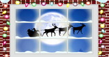 Digital image of fairy light on wooden fame against black silhouette of santa claus in sleigh be