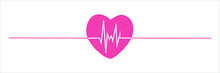 Heartbeat Pulse Icon For Medical Apps And Websites. Heart Rate Pulse Line. Cardiogram Graphic In Flat Style Design