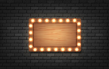 Vector Retro Rectangle Wood Billboard And Brick Wall Background.