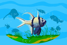 Ocean Underwater Background With Fishes. Aquarium With Exotic Fish. Deep Ocean Sea Life Scene. Save The Oceans Or Sea Conservation.Wildlife Day Poster.Tropical Marine Scenery.Stock Vector Illustration