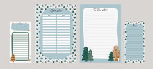 Set Christmas Planner And To-do List And Gift List Including Gingerbread, Christmas Trees And Winter Landscape