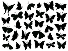 Papillon Silhouette. Mariposa Butterfly Wing, Moth Wings Silhouettes And Spring Flower Butterflies Isolated Vector Illustration Set