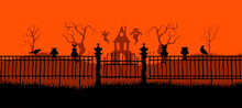 Happy Halloween Banner On Orange Background. Halloween Concept For Greeting Cards. Composition Of Silhouettes. Vector Illustration.