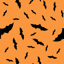 Scary Black Bats Are Flocking, Isolated On An Orange Halloween Vector Background. Illustration Of Nocturnal Creatures-bats. Silhouettes Of Bats Are Traditional Halloween Symbols On A Colored