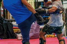 Sparring Thai Boxing In A Boxing Stadium.