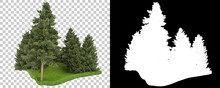 Forest Isolated On Background With Mask. 3d Rendering - Illustration