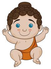 Cute Baby Buddha In Cartoon Style, Vector Illustration