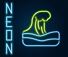 Glowing Neon Line Tsunami Icon Isolated On Black Background. Flood Disaster. Stormy Weather By Seaside, Ocean Or Sea Wave Or Tsunami. Colorful Outline Concept. Vector