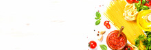 Italian Food Background. Pasta, Tomato Sauce, Herbs And Spices At White Kitchen Table. Long Banner Format.