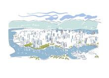 Vancouver British Columbia Canada Vector Sketch City Illustration Line Art Colorful Watercolor Style