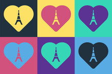 Pop Art Eiffel Tower With Heart Icon Isolated On Color Background. France Paris Landmark Symbol. Vector