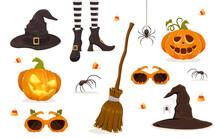Set Of Halloween Icons On White Background