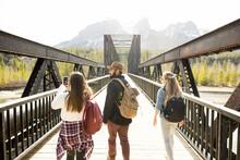 Friends Walking Over Bridge In Forest