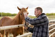 Male Farmer Petting Horse At Corral Fence On Rural Farm