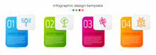 Set Line Dragonfly, Forest, Blossom Tree Branch And Ladybug. Business Infographic Template. Vector