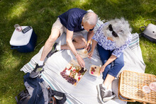 Overhead View Of Senior Couple Eating Snack Platter At Picnic In Park