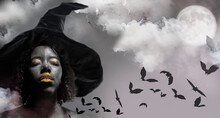African American Woman Witch Halloween Background