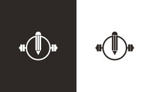 Creative Smart Gym Logo. Pencil Combined With Barbel Icon Vector Illustration