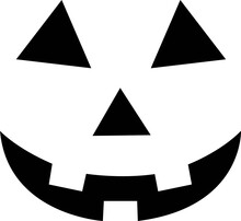 Halloween Clip-Art With Simple Easy Smiling Carved Pumpkin Or Jack-o-Lantern Face Svg Vector Cut File For Cricut And Silhouette