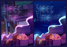 Sleep Time Posters With Woman Naps And Sees Dreams. Vector Banners With Cartoon Illustrations Of Girl Sleeping In Bed Under Blanket, Top View Of City Street And Underwater Sea Life