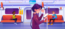 People In Subway Train Car. Women With Mobile Phones And Man With Book In Metro Wagon With Illumination And Seats. Underground Railway Commuter Carriage With Passengers, Cartoon Vector Illustration