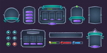 Game Buttons And Frames With Metal Border. Design Elements And Assets For User Interface. Vector Cartoon Set Of Game Ui Elements, Bars Of Health, Coins And Energy, Check And Cross Marks And Panels