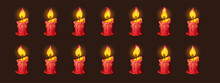 Burning Fire On Candle For 2d Animation Or Video Game. Vector Cartoon Animation Sprite Sheet With Sequence Of Shiny Flickering Flame On Red Wax Candle Isolated On Black Background
