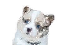 Cute Pixel Mosaic Style Dog Illustration