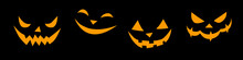 Vector Set Of Smiling Faces In Flat Style. Glowing And Looking Out Of Dark Creepy Snouts Of Creatures, Isolated On Black Background. Halloween Element For Party, Poster, Holiday Design. Danger Animal
