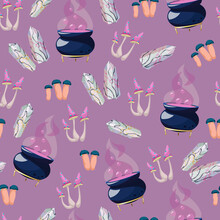 Vector Seamless Pattern With White Textured Crystals, Mushrooms, Amanita, Cauldron With Potion Isolated On Pink Background. Cartoon Wizard Items For Witchcraft.