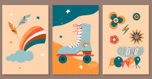 Set Of Vintage Hippie Posters. Retro Seventies Hipster Style. Flat Vector Illustration For Card, Print, Cover Design Etc