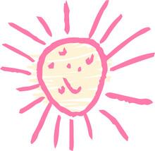 子供が描いた汗っかき太陽のかわいい落書き 猛暑 熱射病