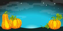 Halloween Banner Background. Dark Sky And Horrible Pumpkins Jack O Lantern