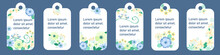 Vector Set Of Floral Vertical Tags. Decorative Blanks With A Floral Pattern. Floral Design Brochures Inspired By Nature Itself. Blooming Fragrant Flowers, Loving Tits, Leaves. Vector Eps10.