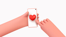 In Hands Of Mobile Phone, Icons Like Red Heart, Approval Social Networks. Social Media Creative Idea 3d Concept With Realistic Design. People Holding Smartphone. Vector Illustration