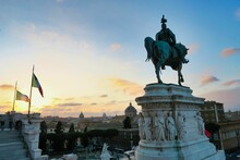 Monument To Peter The Great In Moscow Russia, Photo As A Background In Old Italian Roman Capital City, Rome, Italy