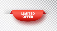 Red Banner Limited Offer. Vector Red Label Isolated On Transparent Background.