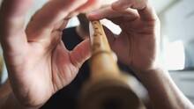 Male Musician Hands Playing On Recorder, Woodwind Wood Flute