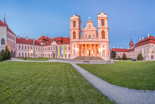 Church Of Monastery Goettweig Near Krems Against Sunset In Lower Austria, Wachau, Austria