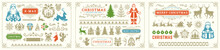 Christmas Vector Decoration Elements With Ornate Vignettes And Symbols Set.