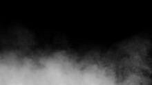 White Smoke Or Fog Isolated On Black Background.