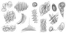 Vector Collection Of Isolated Black Color Chaos Lines. Hand Drawing Tangled Continuous Lines On The White Background. Set Of Doodle Sketch Elements.