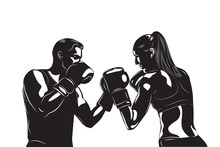 Silhouette Man And Woman Athletes Strike Each Other With Punches In Special Gloves Boxing. Vector Illustration.