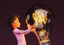 3d Female Character Holding A Giant Light Bulb