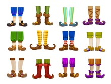Cartoon Legs Of Gnome, Elf, Wizard, Magician And Warlock, Wiz And Sorcerer. Isolated Vector Feet And Shoes Of Fairy Magic Characters With Funny Striped Pants, Socks And Stockings, Boots And Tights