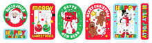 Merry Christmas And Happy New Year Funny Cartoon Characters. Sticker Pack, Posters In Trendy Weird Retro Cartoon Style.