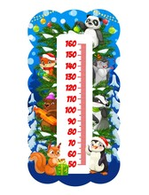Christmas Cartoon Funny Animals On Kids Height Chart. Children New Year Holiday Growth Measure Scale With Cute Panda, Fox And Hedgehog, Beer, Squirrel, Penguin With Gifts And Toys On Christmas Tree